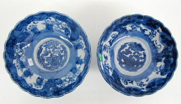 5: 2 Oriental Blue & White Pottery Bowls