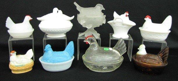 11: 9 Glass Hens & Bisque Birds on Nests