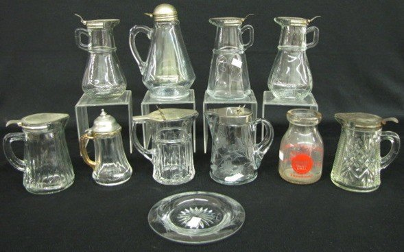 19: 11 Clear Glass Syrups, Milk Bottle & Plate