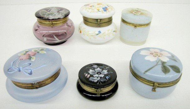 21: 6 Opaque & Colored Glass Dresser Boxes