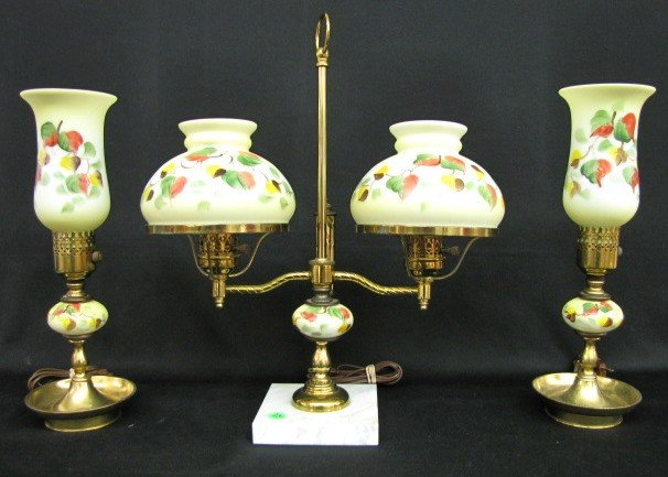 23: 3pc. Painted Milk Glass Lamp Set