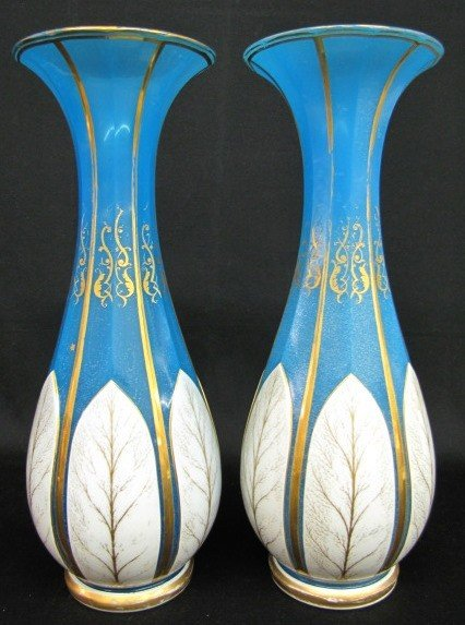 243: 2 Enamel Decorated Blue Opalene Glass Vases
