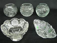 316 Group of 5 Crystal  Cut Glass Bowls  Rosebowls