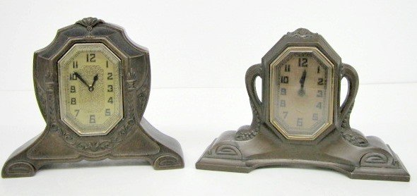 4: 2 Metal Case Art Nouveau Dresser Clocks