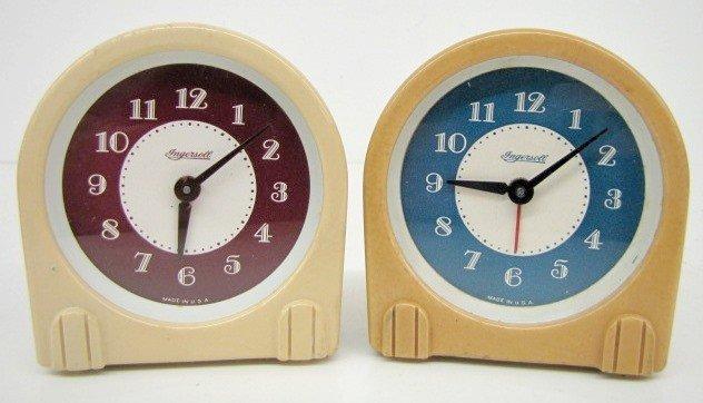 5B: 2 Ingersoll Plastic Art Deco Alarm Clocks