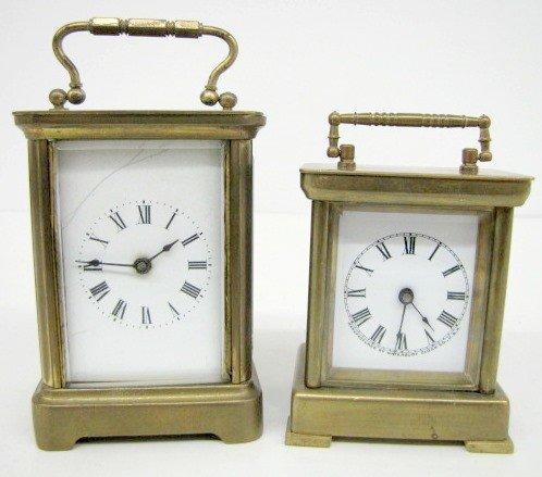 8: 2 Antique Porcelain Dial Carriage Clocks