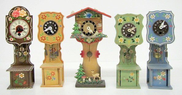 13: 5 Miniature Painted Grandfather Pendulettes