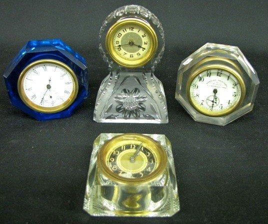 19: 4 Antique Glass Dresser Clocks