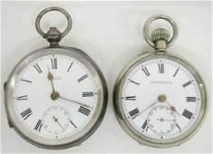 102W 2 Antique Swiss  Silver Pocket Watches