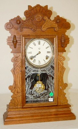 "9: Waterbury ""Gibson"" Walnut Carved Kitchen Clock"