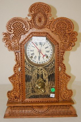 19: Ingraham Oak Calendar Kitchen Clock
