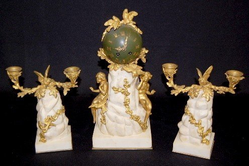 172: 3pc. Signed Boisseaux French Marble Clock Set