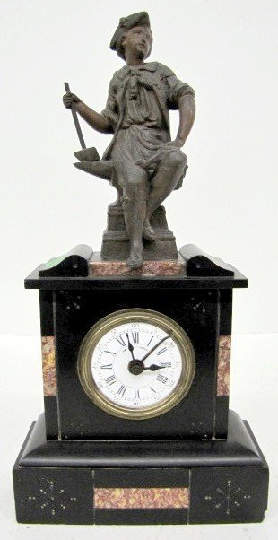 26: French Slate & Marble Statue Clock