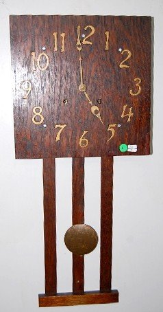 4: National Clock Mfg Mission Oak Hanging Clock