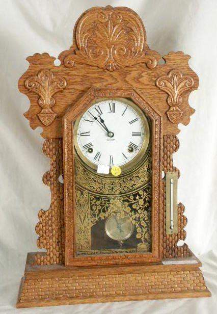 505A: Gilbert Weave Design Mantle Clock Pat. 1881 NR