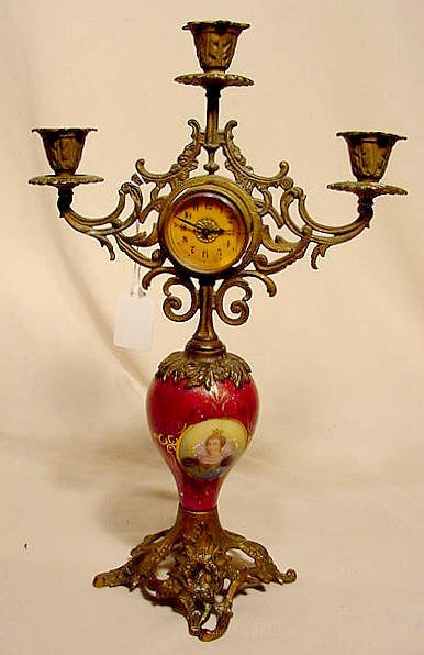 506A: Candelabra Clock with HP & Decaled Porcelain Stem