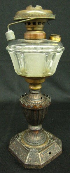 2: Antique Kerosene Lamp, Ornate Iron & Glass