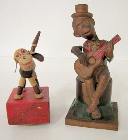 6: Celluloid Keywind Musical Monkey & Wood Dog Toy