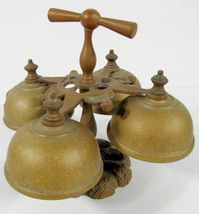 11: Antique Brass Hand Bells, 4 Bell w/Handle