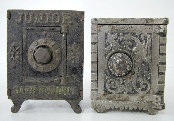 13: 2 Cast Iron Combination Safe Banks