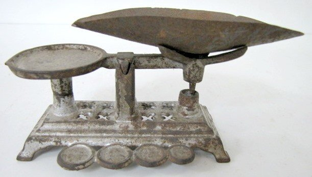 14: Antique Cast Iron Toy Scale w/Tin Pan