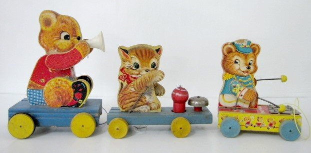 15: 3 Fisher Price Animal Pull Toys: Kitten & Teddy
