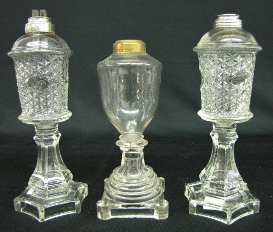 16: 3 Early Molded Glass Whale Oil Lamps