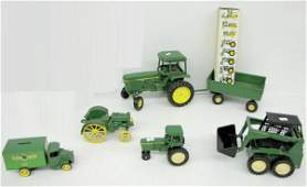 70: Group of 6 John Deere Tractor Toys & Bank