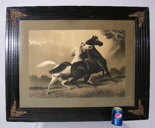 """139B: Antique Framed Print """"The Storm"""", Two Horses"""