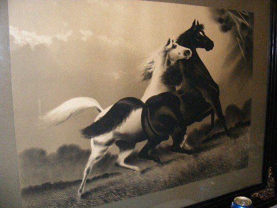 """139B: Antique Framed Print """"The Storm"""", Two Horses - 2"""