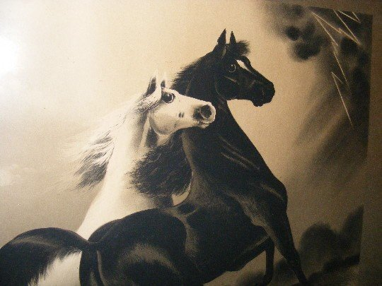 """139B: Antique Framed Print """"The Storm"""", Two Horses - 3"""