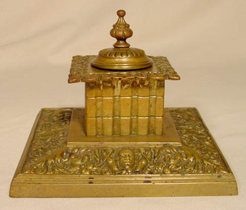 7: Victorian High Relief Décor Bronze Inkwell NR