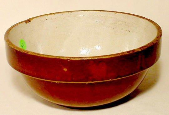 21: Brown & White Stoneware Adv. Bowl Hakes & Sons NR