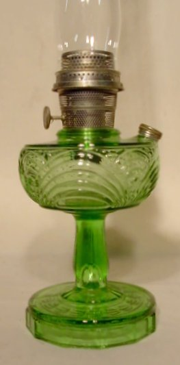 24: B-54 Green Crystal Washington Drape Aladdin Lamp