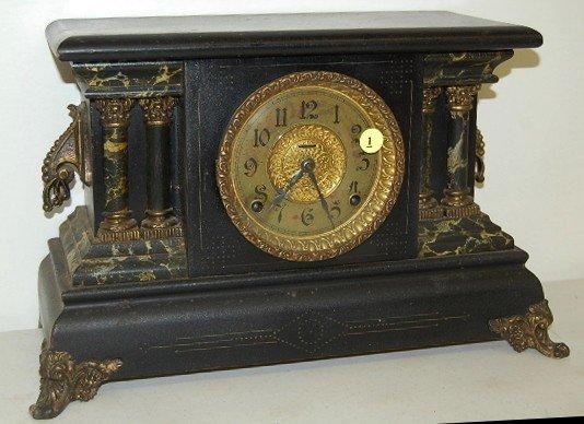 "1: Ingraham Marbleized ""Adrian"" Mantle Clock"