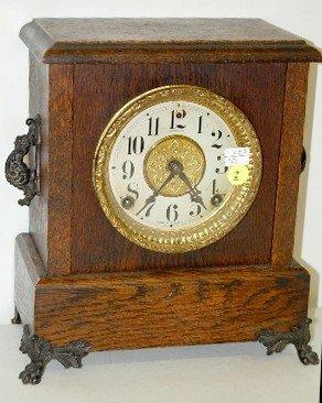 """2: Sessions Oak """"Jewel"""" Mantle Clock"""