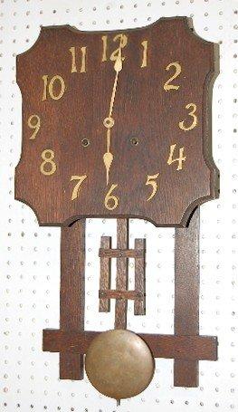 4: Antique Mission Oak Wall Hanging Clock