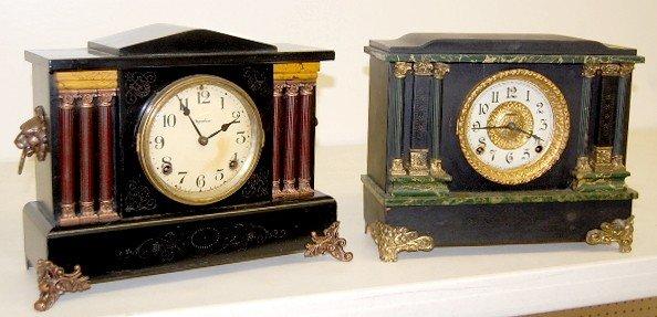 12: 2 Ingraham Marbleized Column Mantle Clocks