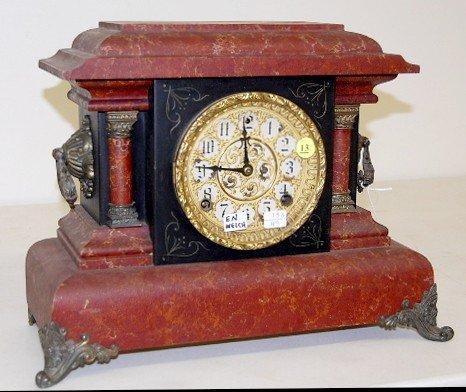 "13: E.N. Welch Marbleized ""Pinero No. 3"" Mantle Clock"