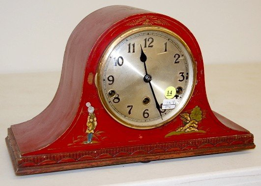 14: Red Painted Westminster Chime Mantle Clock