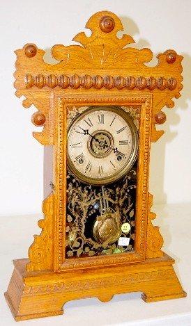 """22: Gilbert Oak """"Lake No. 3"""" Mantle Clock"""