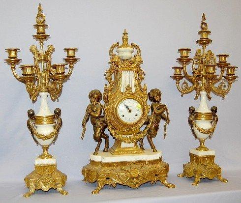 """84: Brass & Marble Figural """"Pan"""" Garniture Set"""