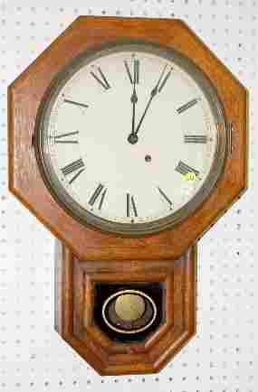 Antique Oak Octagon Short Drop Wall Clock