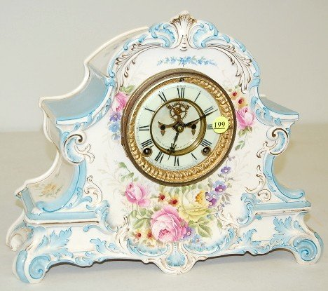 "199: Ansonia ""La Nord"" China Mantle Clock"