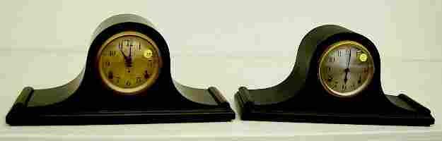 390: 2 Seth Thomas Mahogany Tambour Mantle Clocks