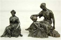 436: 2 Seated Lady Metal Clock Statues