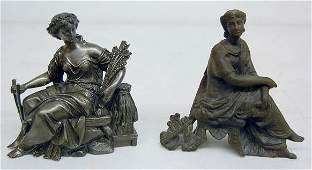448: 2 Seated Lady Metal Clock Statues