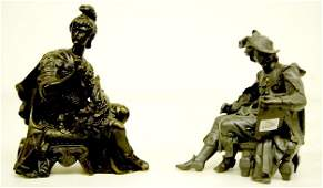 451: 2 Seated Male Metal Clock Statues