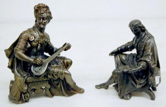 2 Seated Men Metal Clock Statues