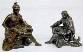 360A: 2 Seated Male Metal Clock Statues